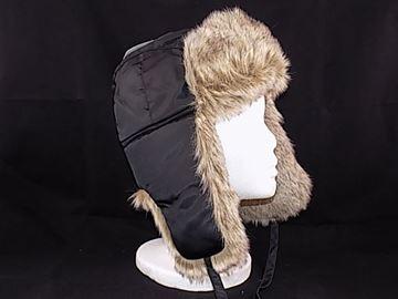 Image de Chapeau de nylon noir doublé de fourrure synthétique