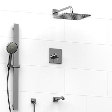 Robinet de bain et douche avec tête de pluie et barre ajustable