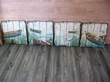 Cadres mural en bois image bord de lac