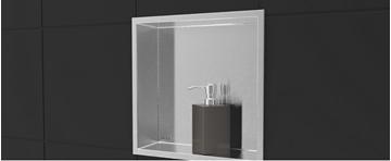Rubi niche en stainless pour douche en céramique