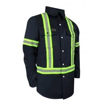 Image de chemise manche longue bouton pression avec bandes réfléchisssantes