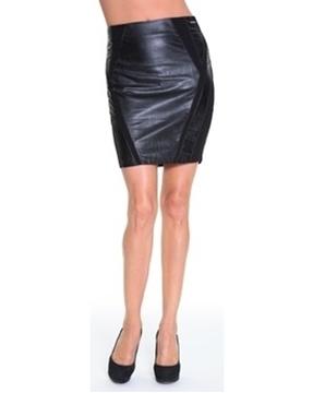 Lady Dutch Jupe courte avec simili cuir