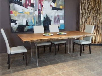 Image de Table en acacia avec pieds en acrylique