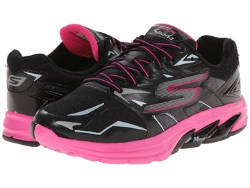 Chaussure de course route skechers go run strada femme noir rose