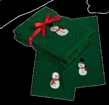 Image de Serviette à main de Noël verte avec bonhomme de neige