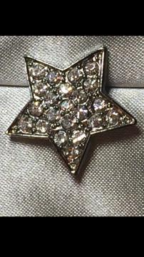 Bouton Étoile Avec Strass Argent 5mm