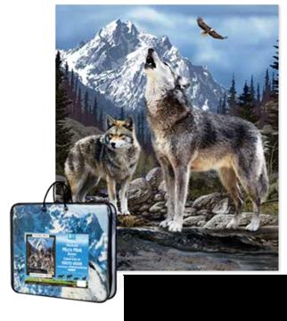Image de Couverture en fausse fourrure avec loups 79 x 94