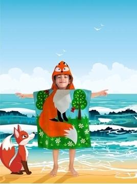 Image de Serviette de plage renard pour enfant avec capuchon
