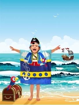 Image de Serviette de plage pirate pour enfant avec capuchon