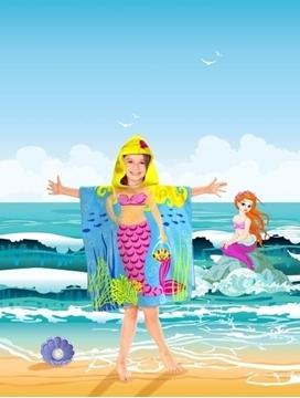 Image de Serviette de plage sirène pour enfant avec capuchon