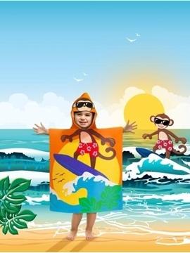 Image de Serviette de plage singe pour enfant avec capuchon