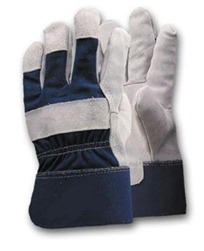 Image de Gant cuir fendu et de coton uni bleu