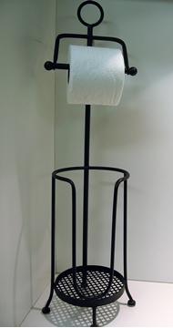 Porte papier de toilette noir sur pied avec réserve