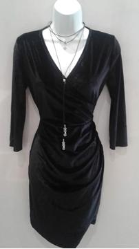 Image de Pink martini robe en velours manche 3/4 noire