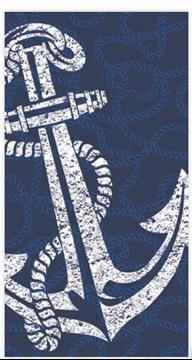 Image de Serviette de plage nautique encre bleu de luxe