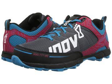 Chaussure de course trail INOV8 Roclite 295 femme rouge-bleu-gris
