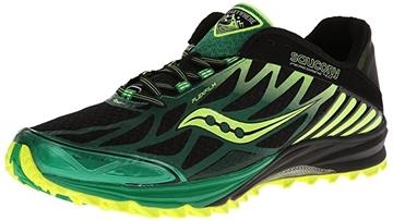 SAUCONY - Chaussures de course en sentier - PEREGRINE 4 - vert-jaune-noir - homme - taille 12