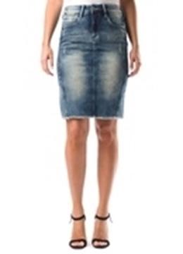 Image de Parasuco jupe jeans à 5 poches délavée en avant et au dos