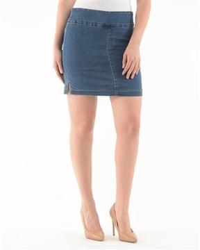Image de Loïs jupe culotte en jeans extensible avec fentes sur les côtés