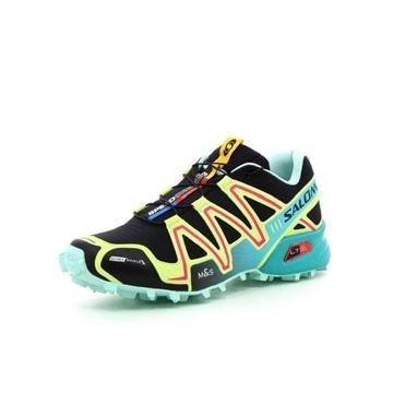 SALOMON - Chaussures de course en sentier - SPEEDCROSS 3CS W - VERT-JAUNE-ROSE - femme