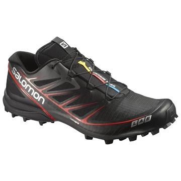 SALOMON - Chaussures de course en sentier -  S-LAB SPEED BLK UNI - NOIR-ROUGE - femme