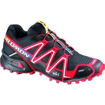 SALOMON - Chaussures de course en sentier et/ou en hiver -  SPIKECROSS 3 CS - NOIR-ROUGE - femme