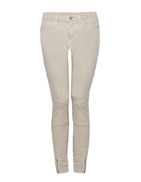 Image de Dex Jeans skinny cheville beige avec fermoir au bas de la jambe