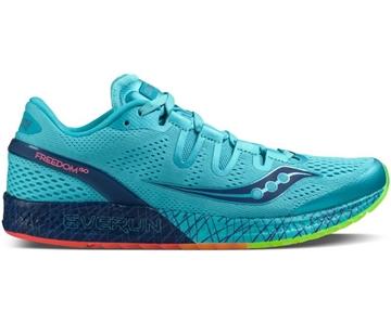 SAUCONY - Chaussure de course de route - Saucony Freedom ISO femme bleu-citron