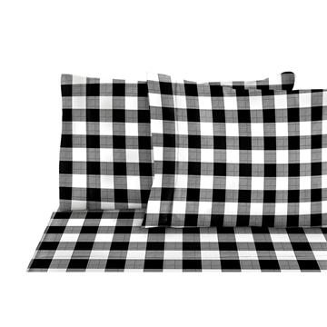 Image de Ensemble de drap à flanelle à carreaux noir / blanc