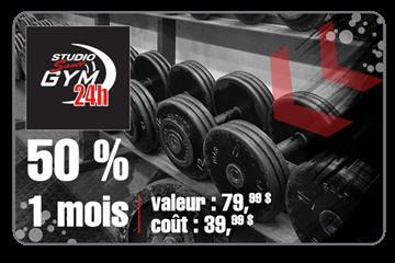 Payer 39.99 $ pour un abonnement de 1 mois d'une valeur de 79.99$ chez Studio Santé Gym