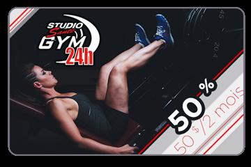 Payer 50$ pour un abonnement de 100$ chez Studio Santé Gym 24h
