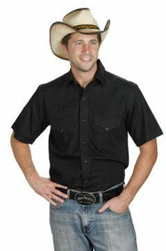 Chemise Western noire coupe classique pour homme