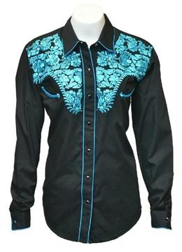 Chemise Western brodée noire - bleue pour femme