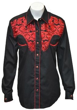 Chemise Western brodée noire - rouge pour femme
