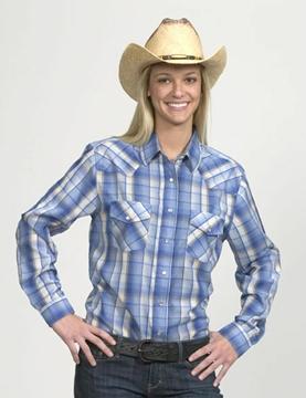 Chemise Western à carreaux bleu - blanc pour femme