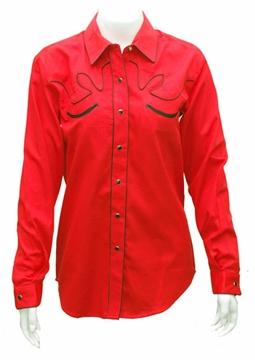 Chemise Western style rétro rouge bordée de noir pour femme