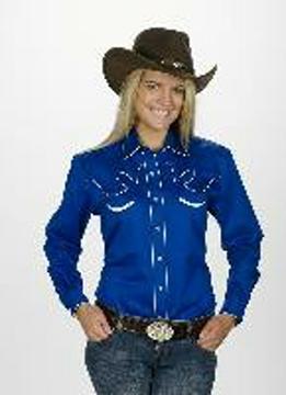 Chemise Western style rétro bleue bordée de blanc pour femme