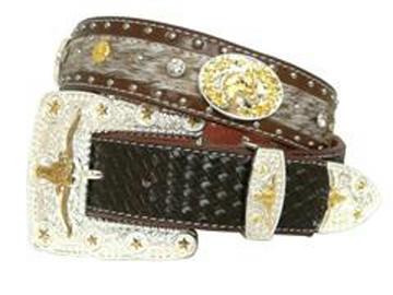Ceinture Western de cuir à concho avec boucle Longhorn style cowboy rodéo