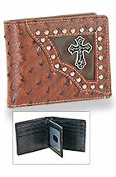 Porte feuille Western en cuir simulé avec boutons en métal rond de style occidental pour homme