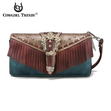Porte feuille Western Buckle Fringe collection Cowgirl trendy pour femme