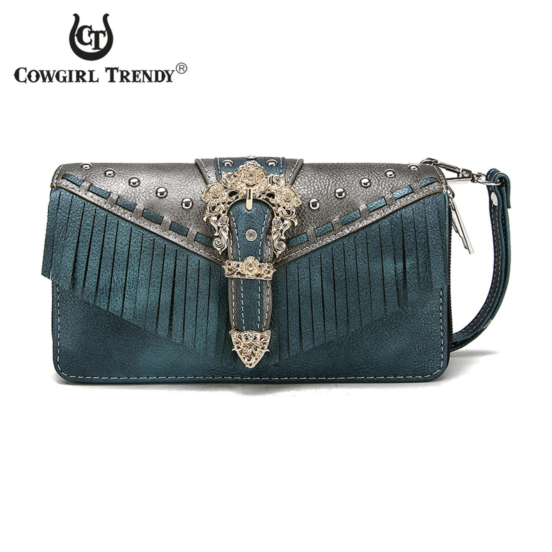 Porte feuille western buckle fringe bleu collection for Porte western