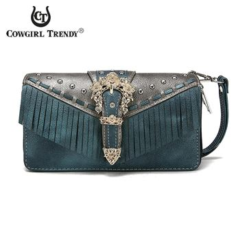 Porte feuille Western Buckle Fringe Bleu collection Cowgirl trendy pour femme
