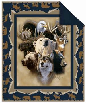 Image de Jeté en fourrure à revers melleton animaux de la faune