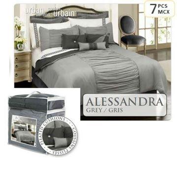 Couvre Lit Queen 7 Morceaux Alessandra Gris   60652.7Q.75