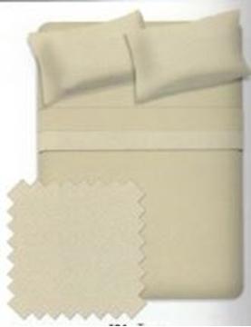 Ens. de draps anti-boulochage en micro molleton taupe pour lit double