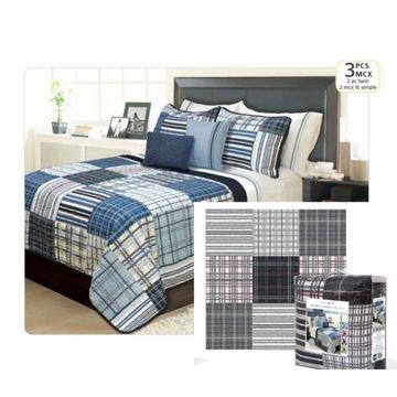 Ens. de courtepointe et couvre-oreillers imprimés noir pour lit simple - Duncan | 60.501.2T