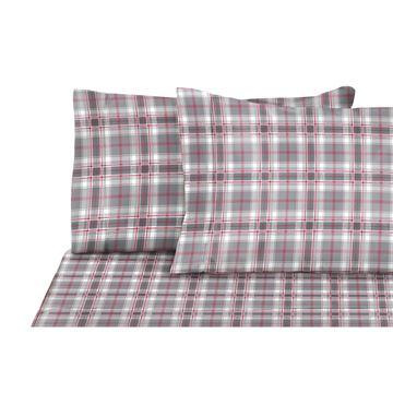 Image de Drap à carreaux en flanelle gris/rose