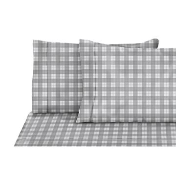 Image de Drap à carreaux en flanelle gris/blanc