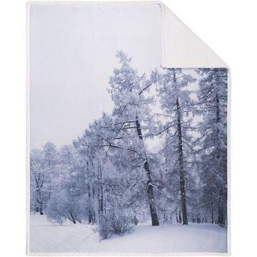 Image de Jeté à imprimé forêt nordique avec endo en sherpa