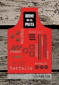 Tablier rouge Reine de la pasta imprimé pâtes   1151PIPE-03N